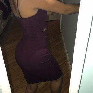 Windsor Dresses - Windsor wine color midi cut out dress